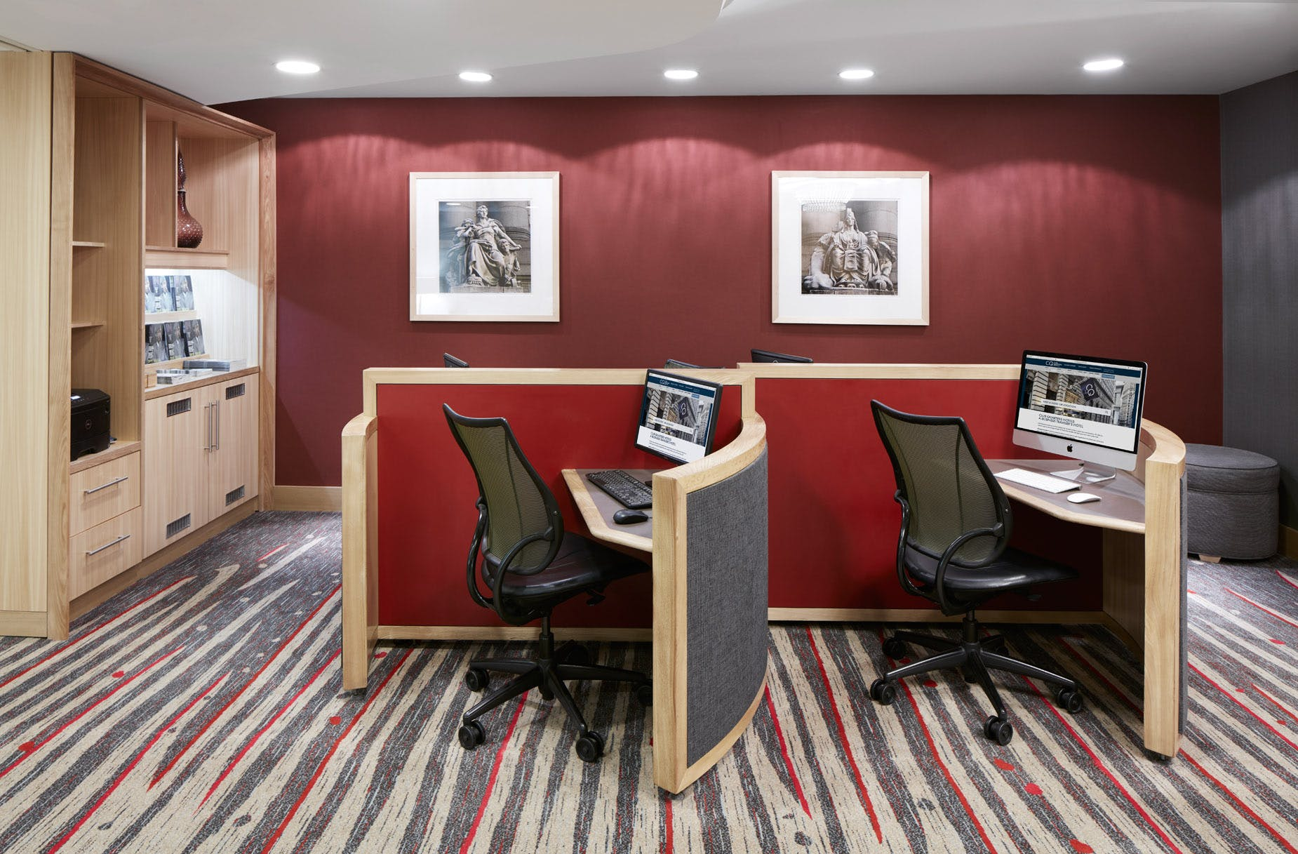 Workstations in the Club Living Room at Club Quarters Hotel, World Trade Center
