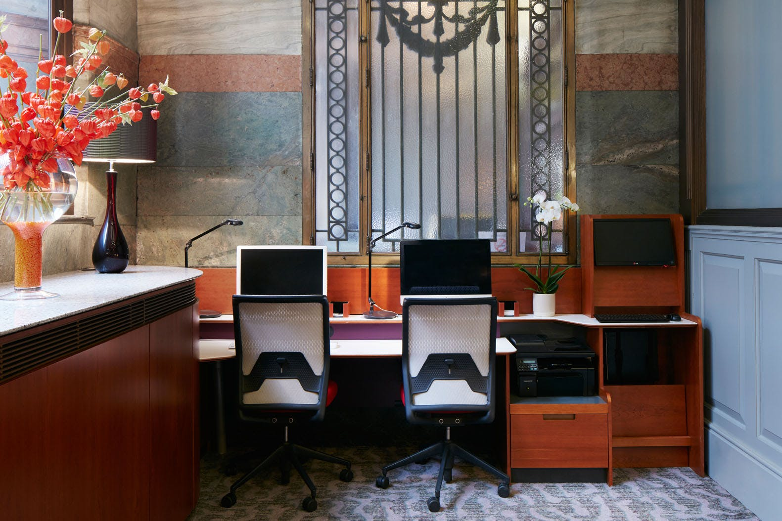 Workstations in the Club Lounge at Club Quarters Hotel, Gracechurch, London