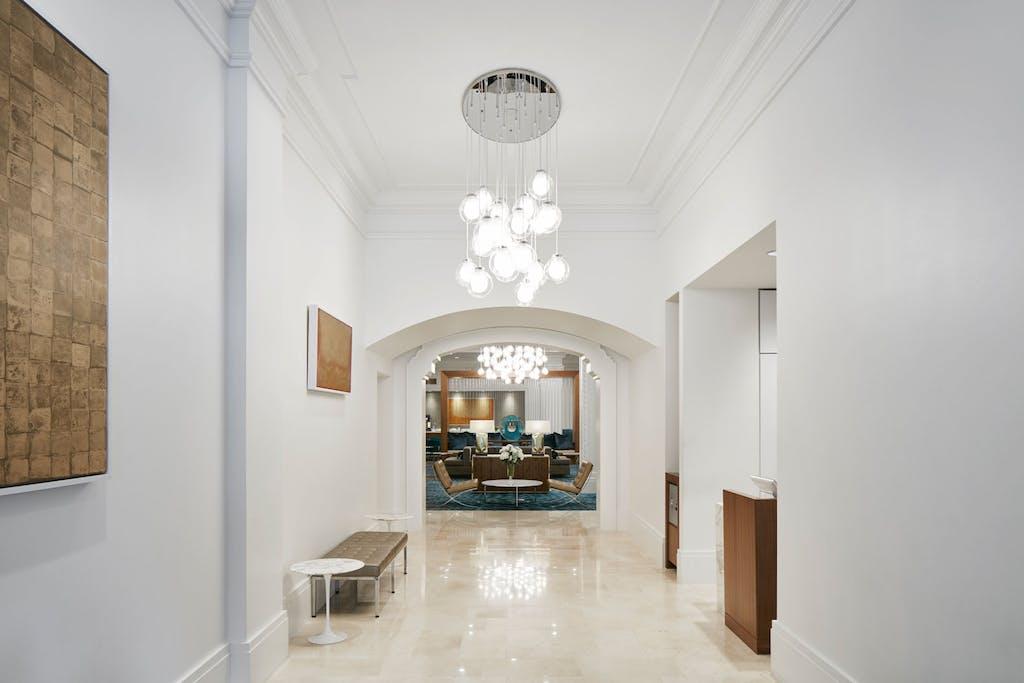 Lobby of Club Quarters Hotel in Houston