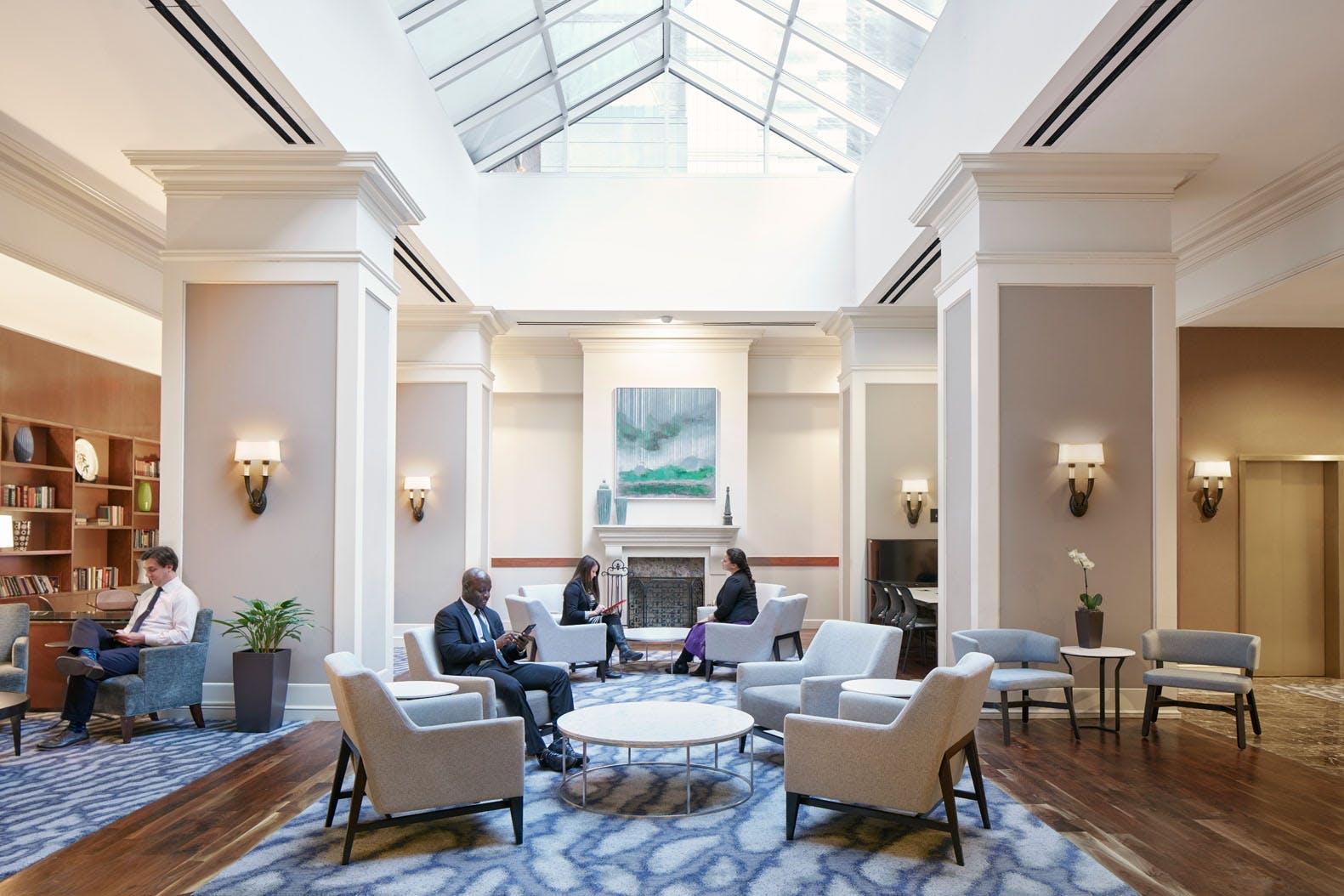 Club Living Room at Club Quarters Hotel in Philadelphia