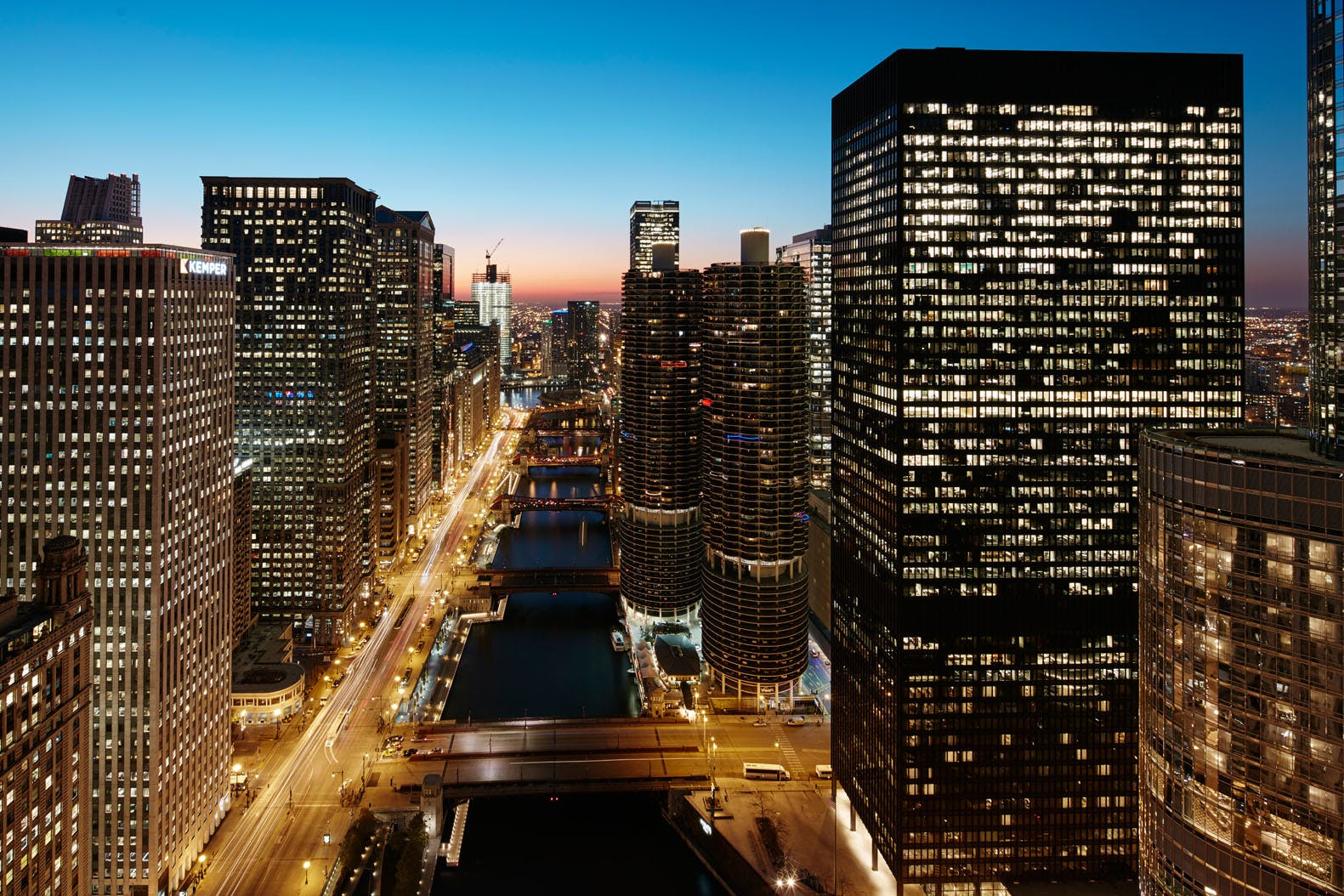 View of Chicago from Club Quarters Hotel, Wacker at Michigan
