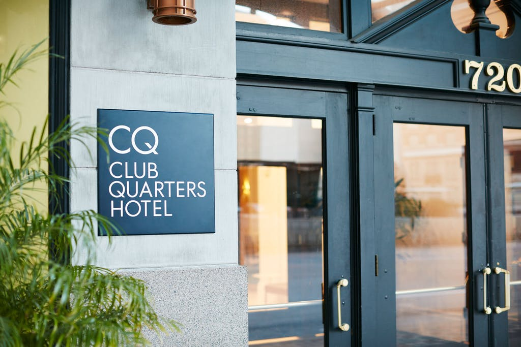 Entrance to Club Quarters Hotel in Houston
