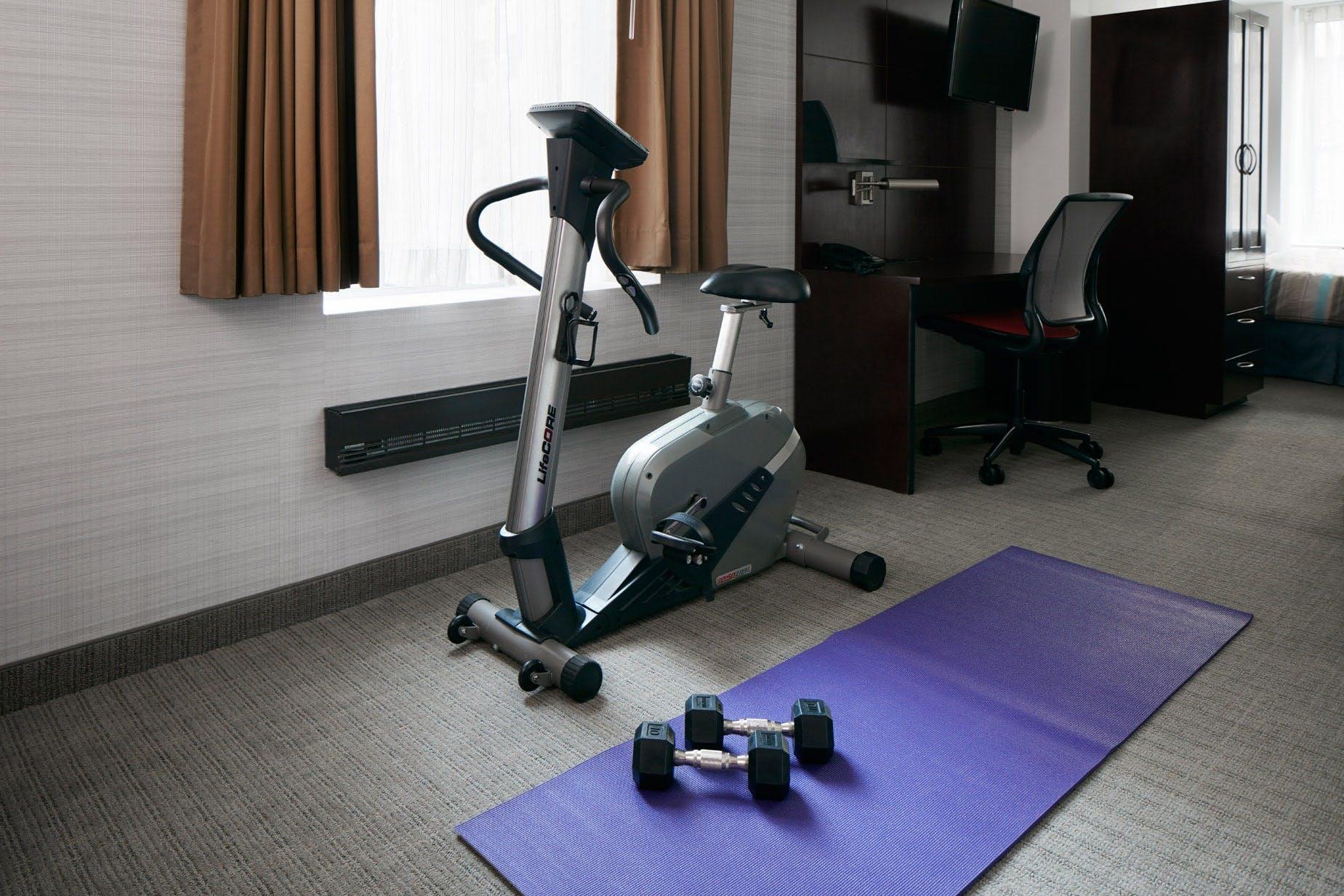 In Room Exercise Equipment at Club Quarters Hotel, opposite Rockefeller Center