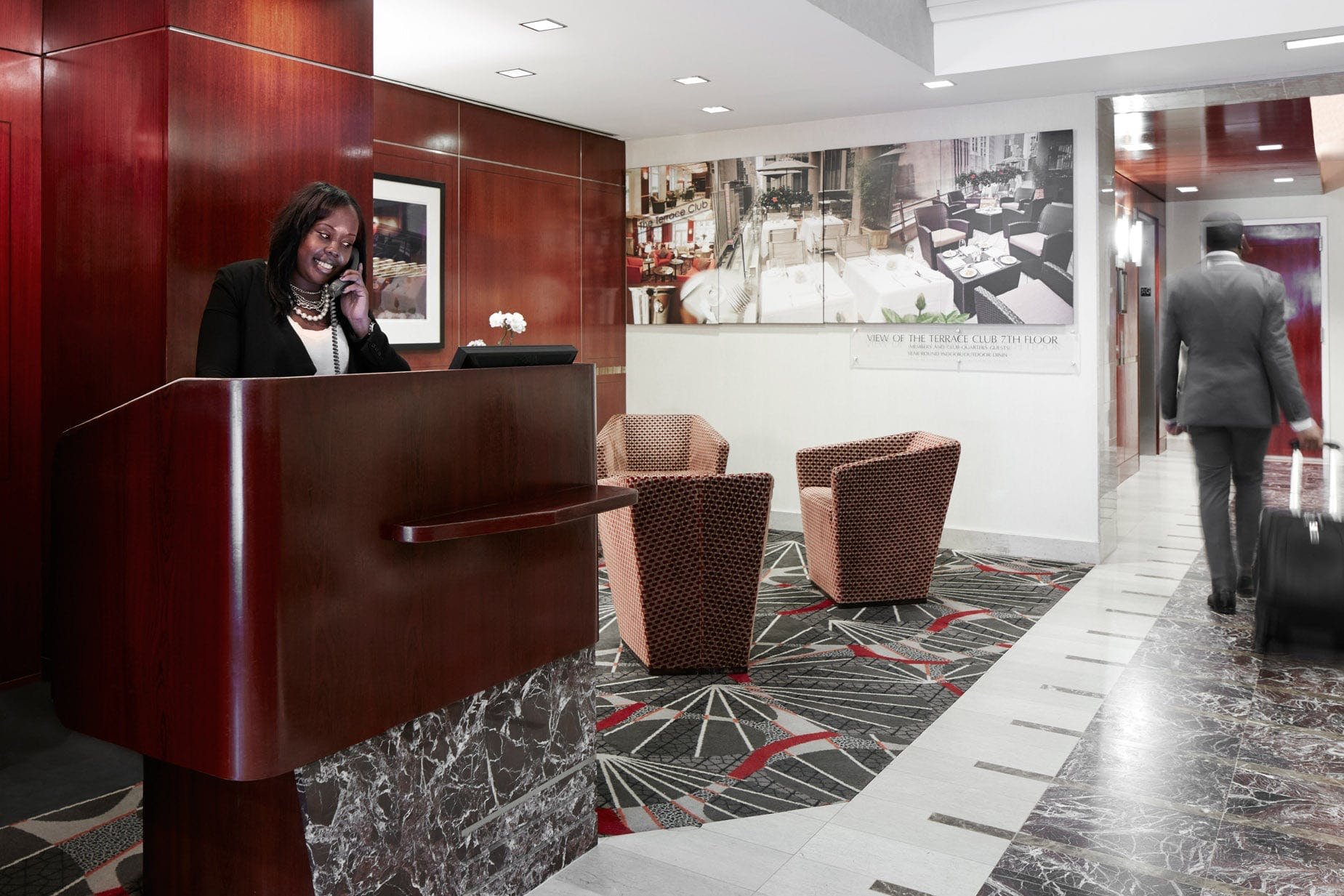 Member Service Desk at Club Quarters Hotel, opposite Rockefeller Center