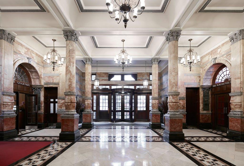 Marble Lobby at Club Quarters Hotel, Trafalgar Square, London
