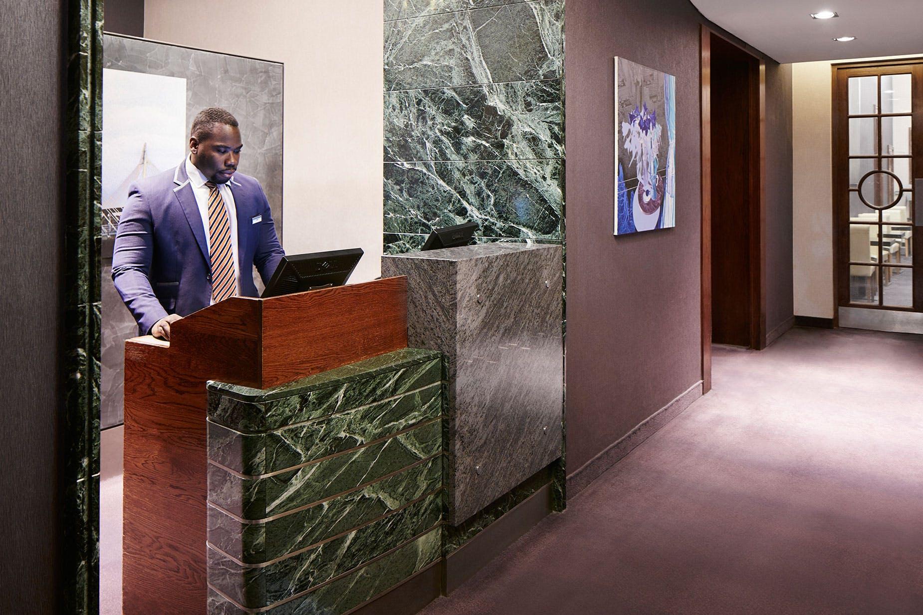 Member Service Desk at Club Quarters Hotel, Trafalgar Square, London