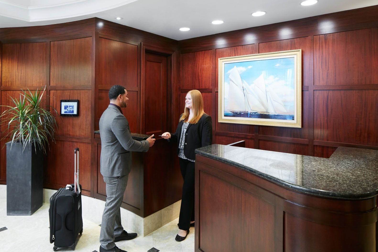 Member Service Desk at Club Quarters Hotel in Boston