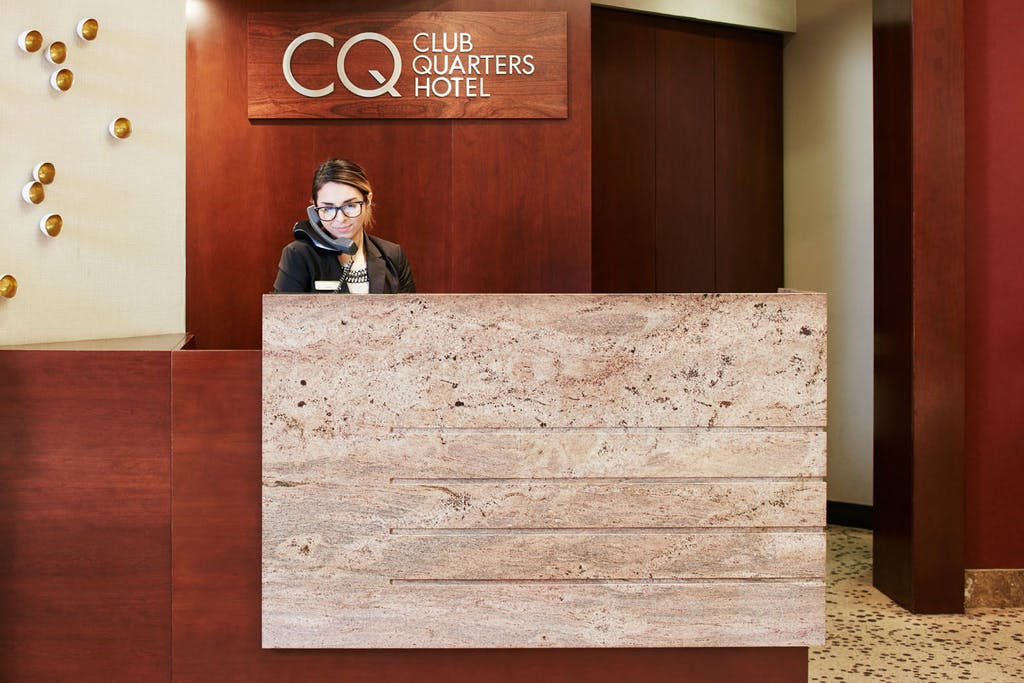 Member Service Desk at Club Quarters Hotel, Central Loop, Chicago
