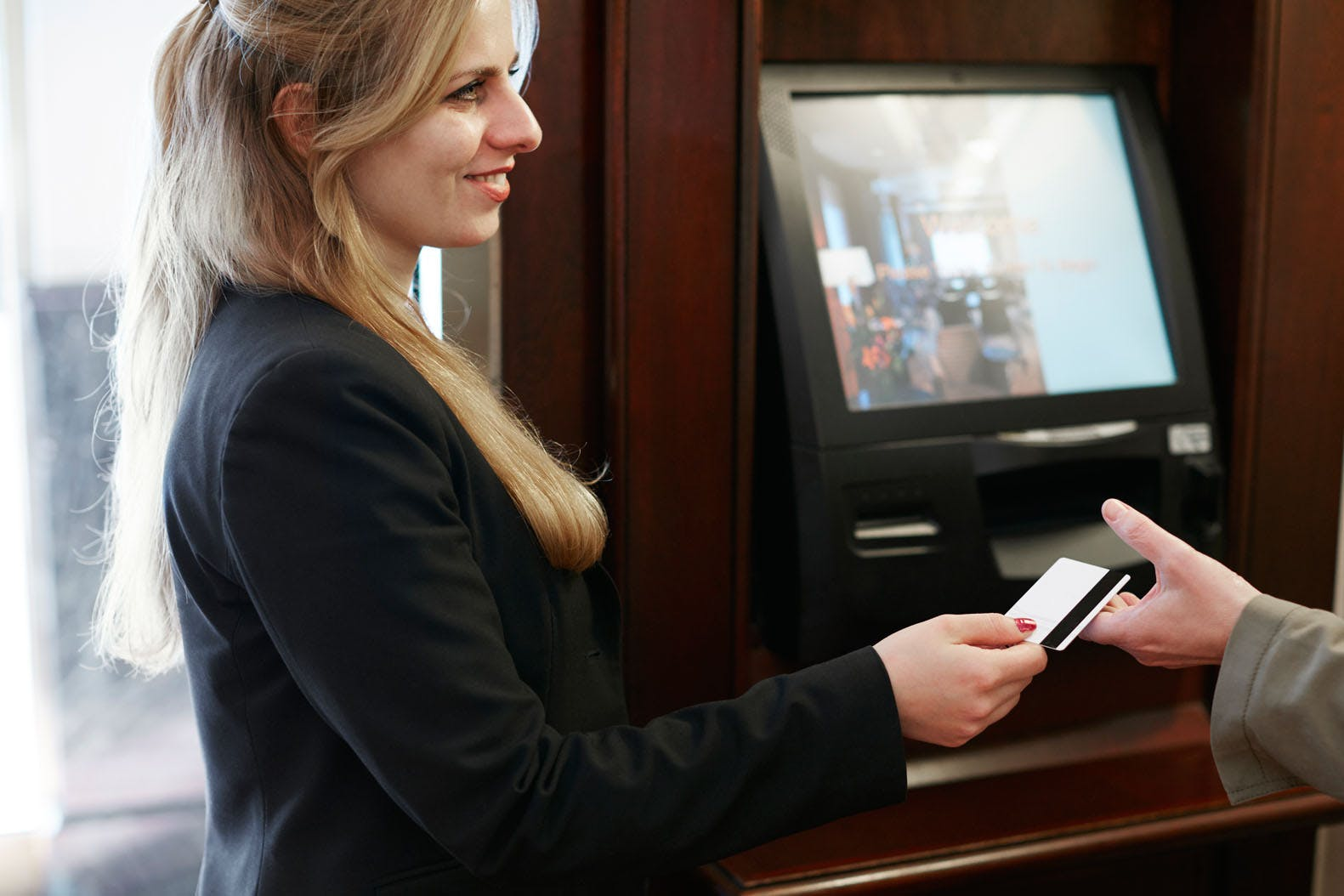 Member Service Desk and Check In Kiosk at Club Quarters Hotel in Washington DC