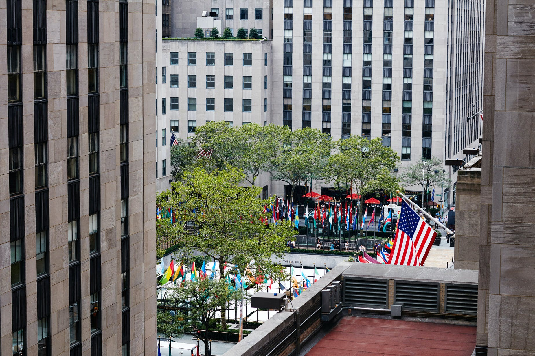 View from the Terrace Club at Club Quarters Hotel, opposite Rockefeller Center