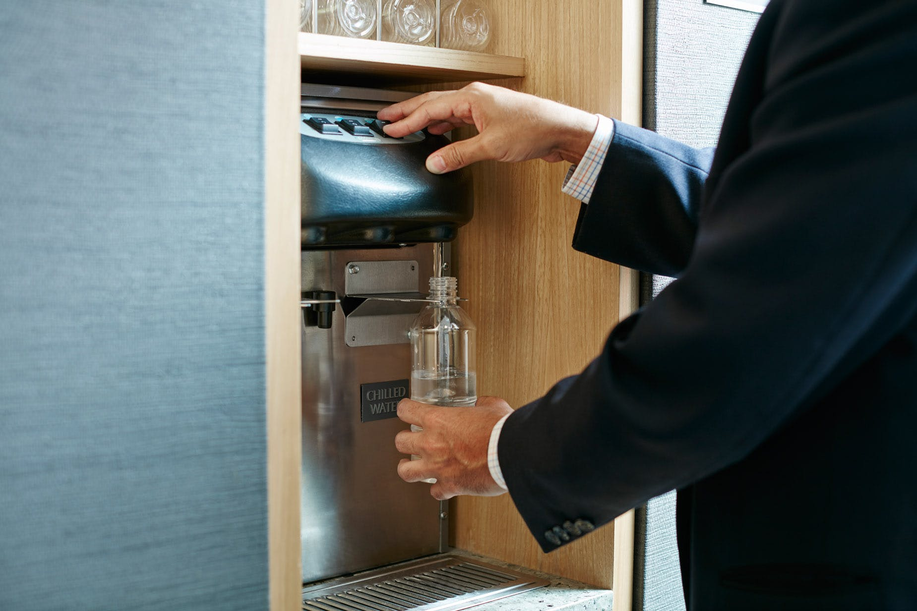 Unlimited chilled bottled water at Club Quarters Hotel, World Trade Center