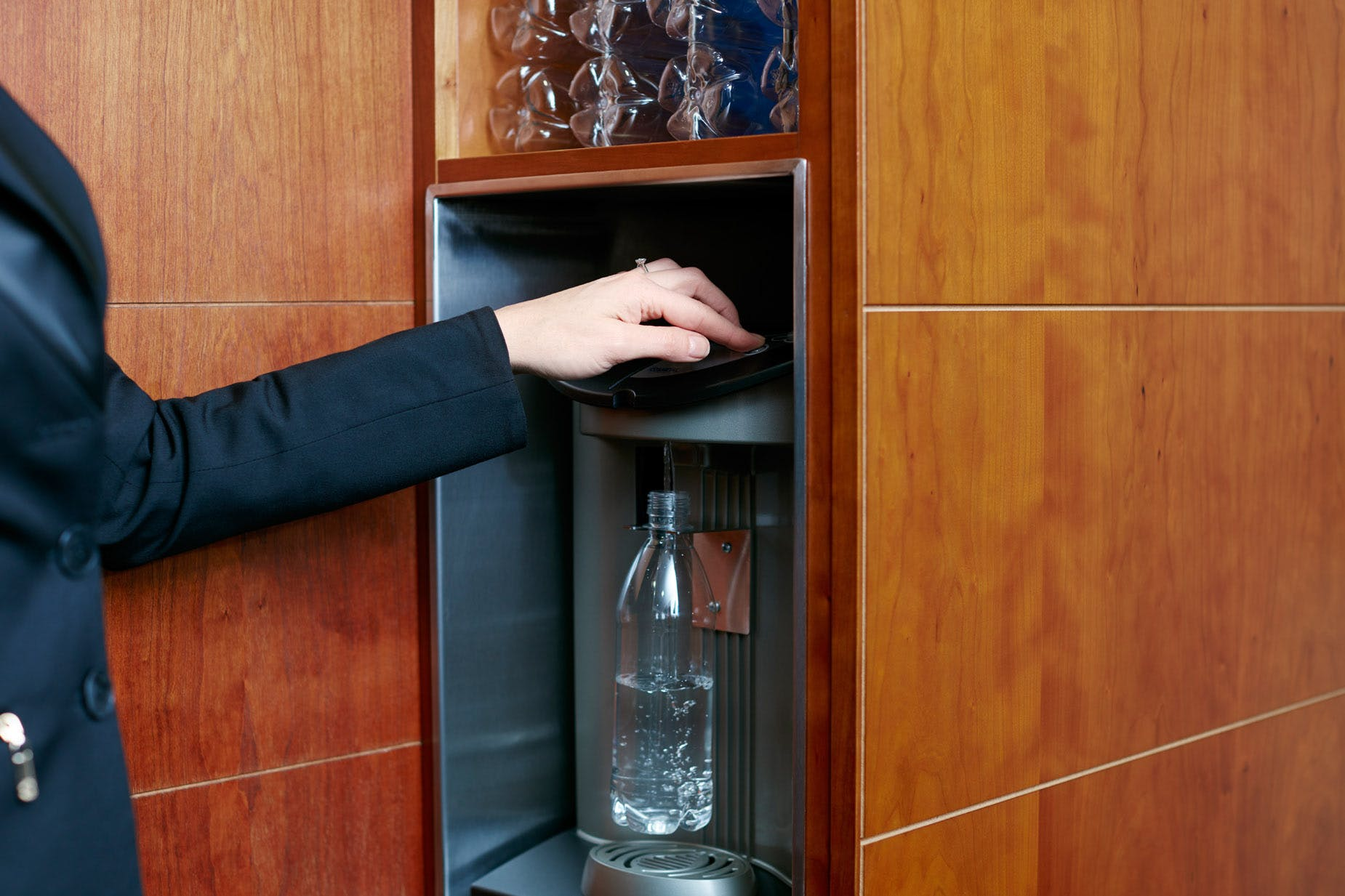 Unlimited chilled bottled water at Club Quarters Hotel, St. Paul's London