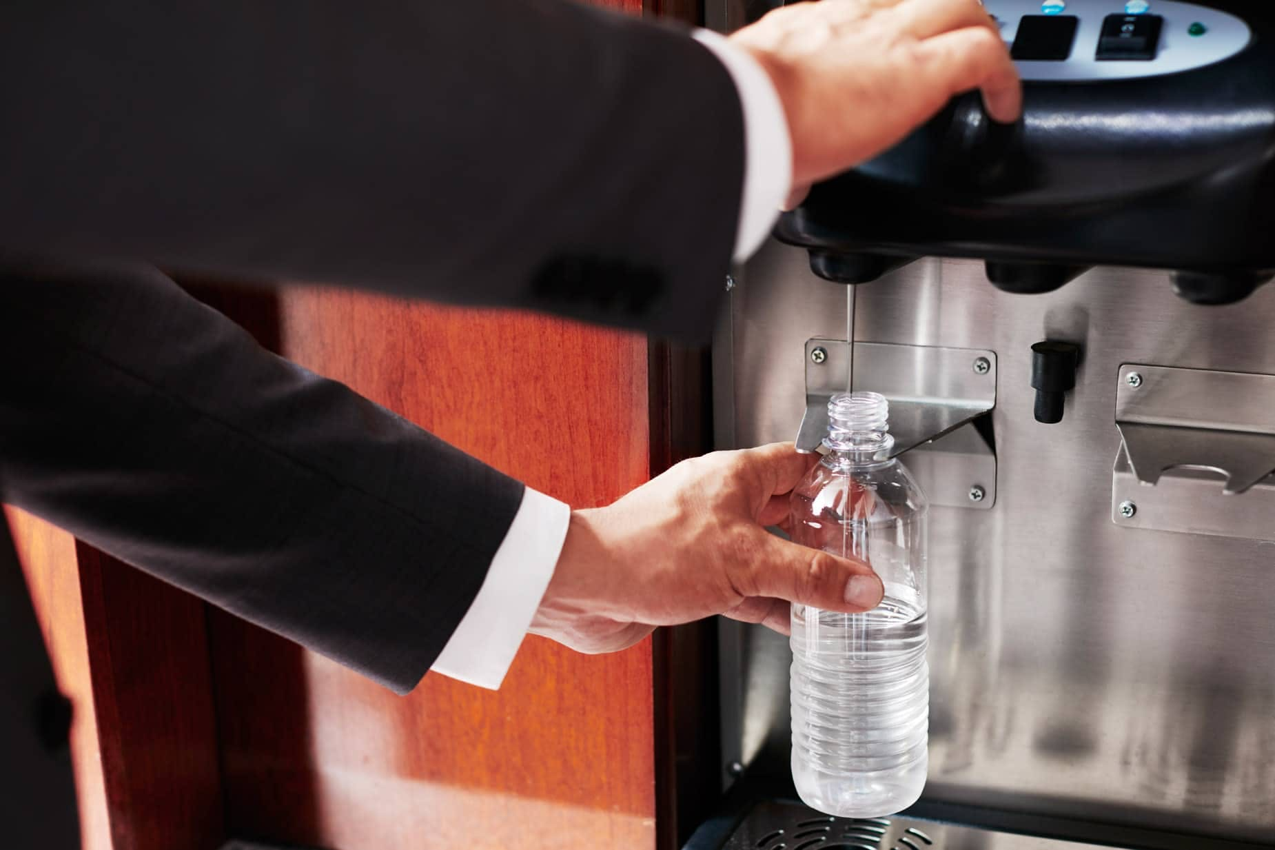 Unlimited chilled water and recyclable bottles at Club Quarters Hotel, opposite Rockefeller Center
