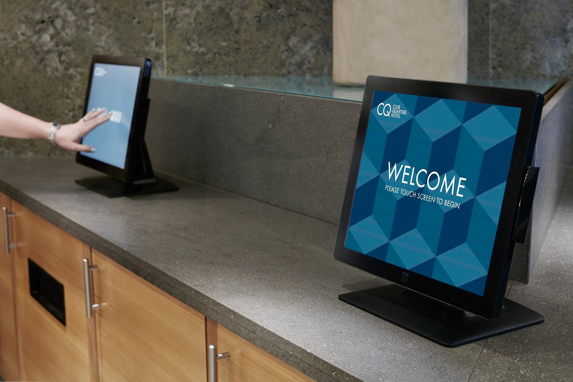 Self check-in kiosks at Club Quarters Hotel, World Trade Center