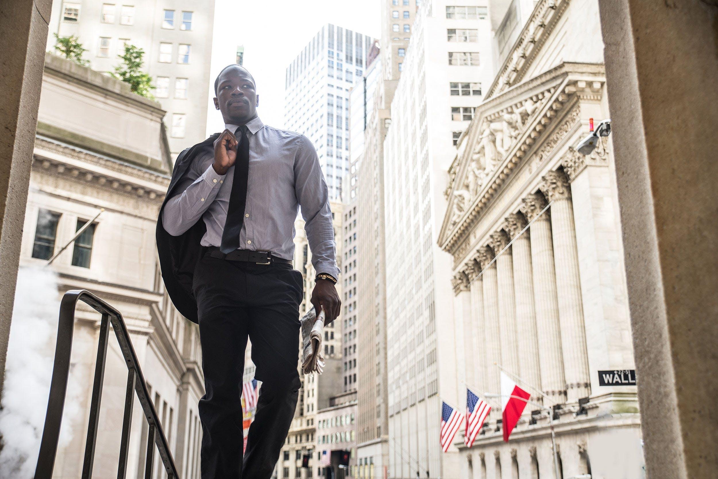 Businessman on Wall Street - Lower Manhattan - New York City