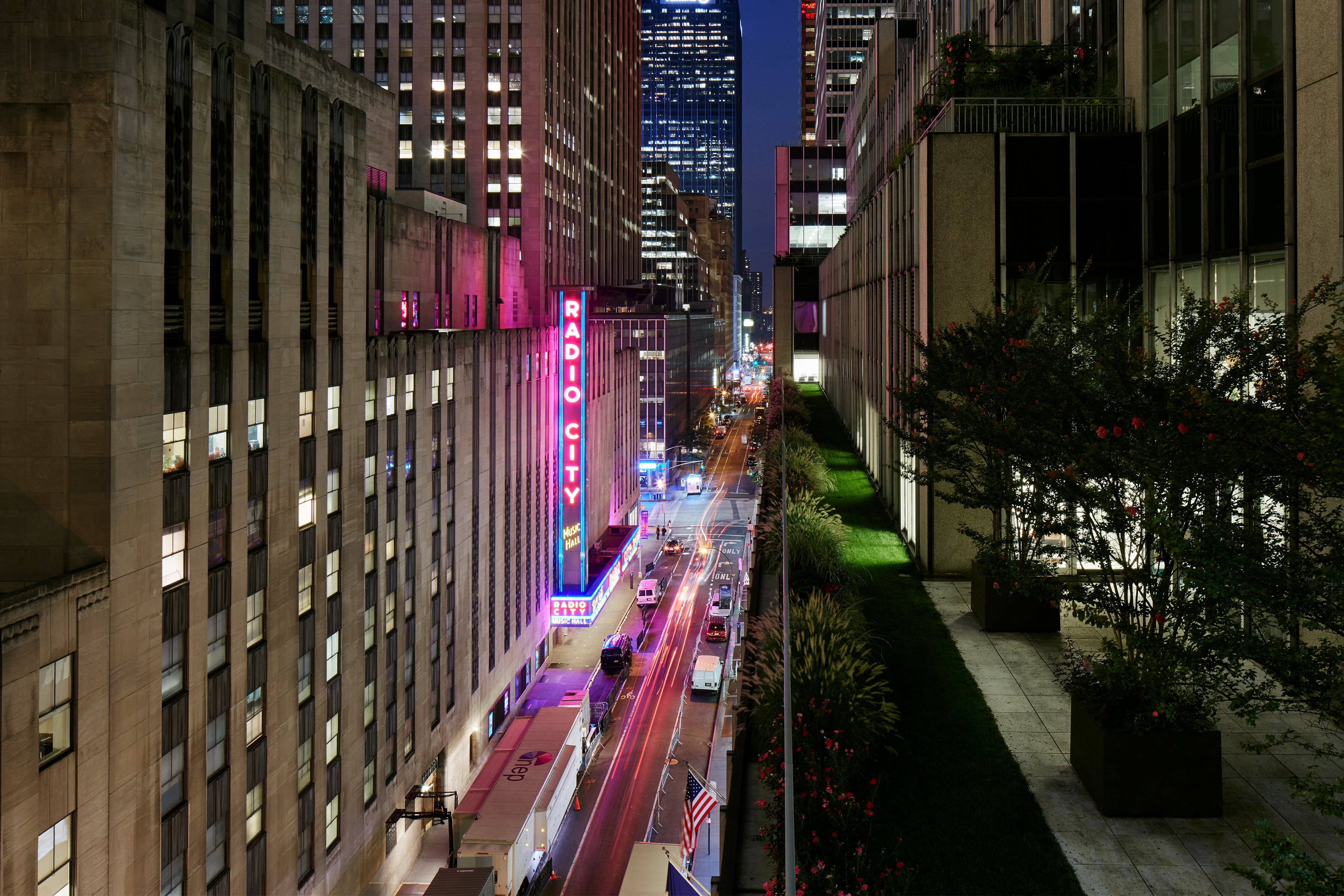 Radio City Music Hall as seen from Club Quarters Hotel, opposite Rockefeller Center