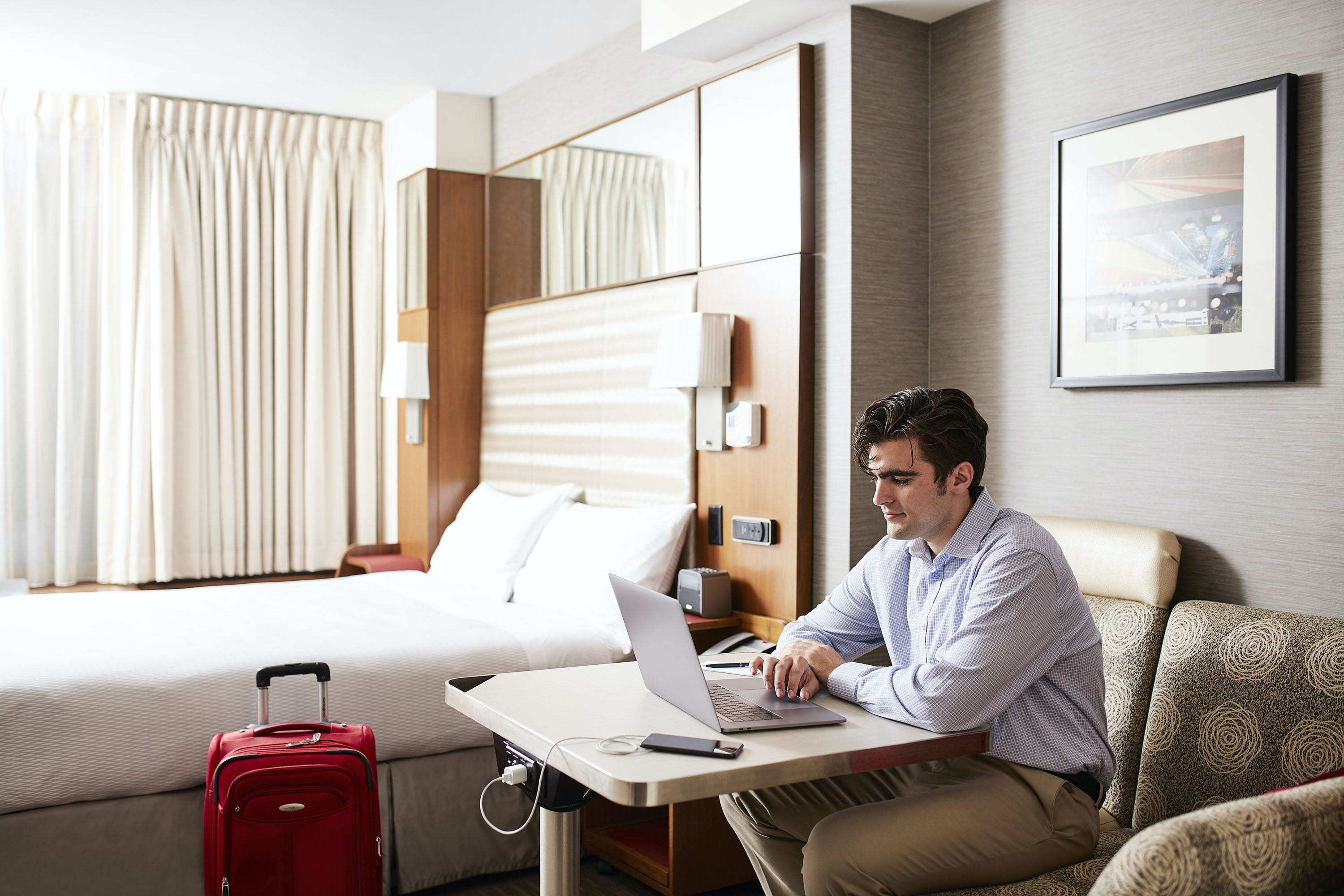 Working at the Activity Center in a Standard Room at Club Quarters Hotel, Grand Central