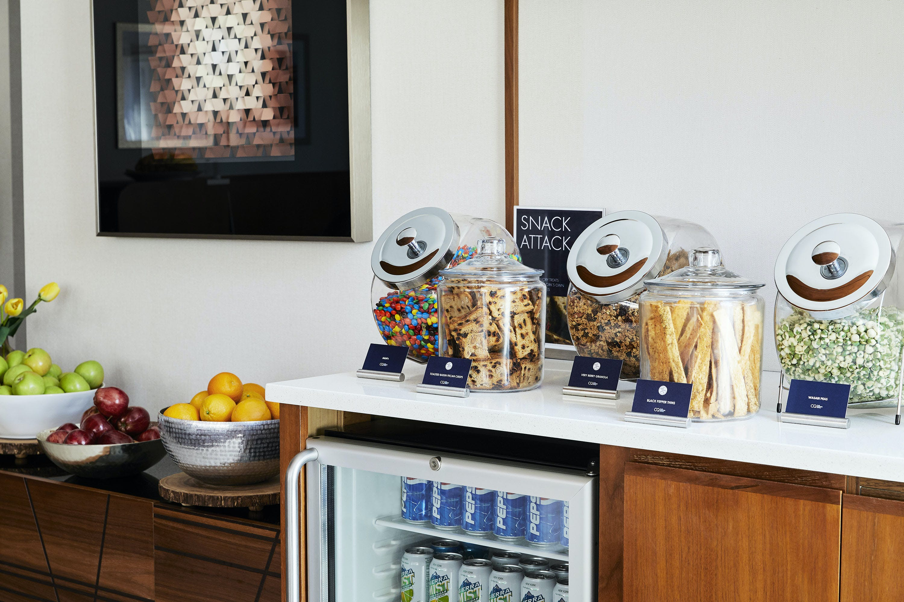 Free snacks and beverages in the Club Living Room at Club Quarters Hotel, Grand Central