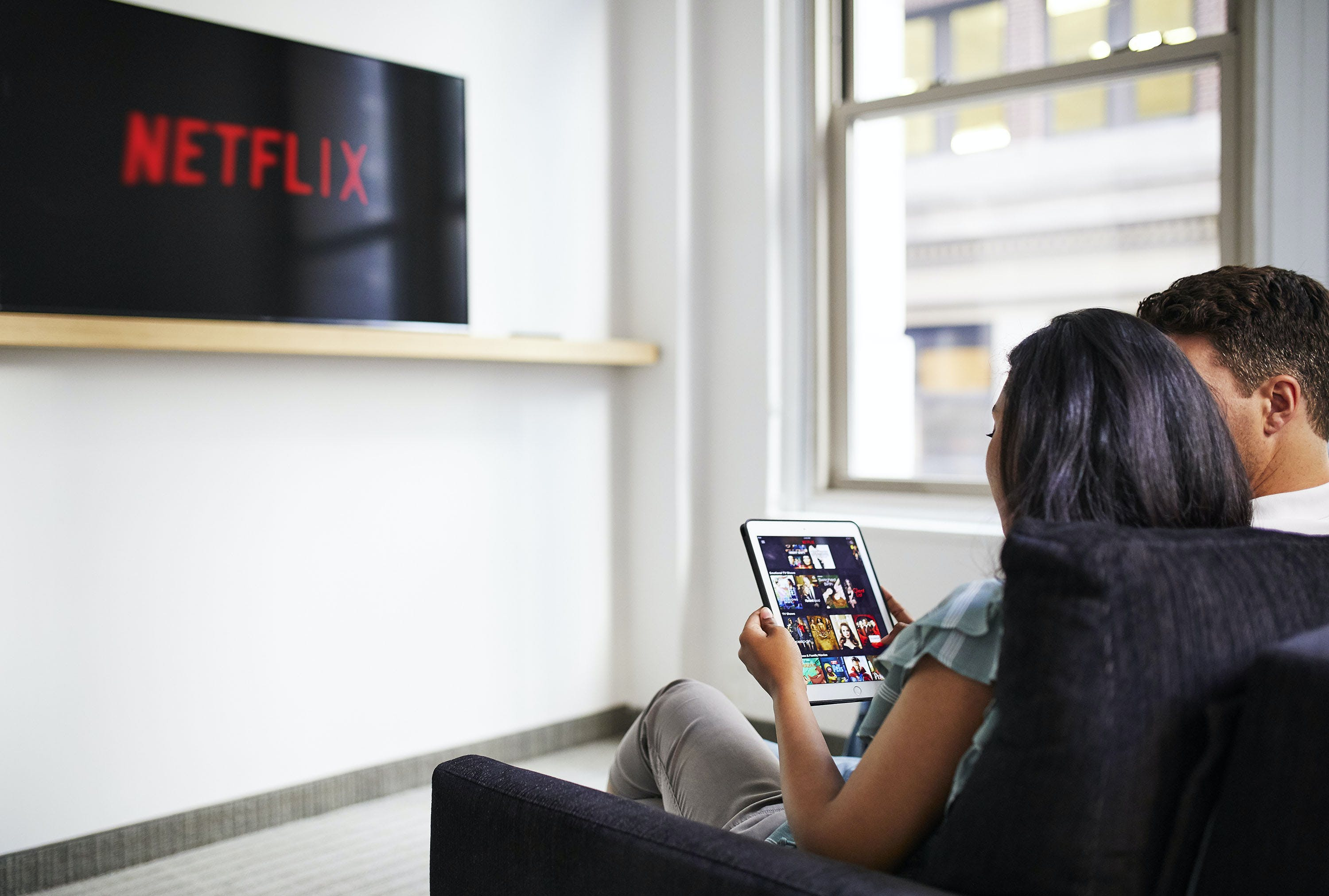 Netflix on the in-room TV at Club Quarters Hotel, Wall Street