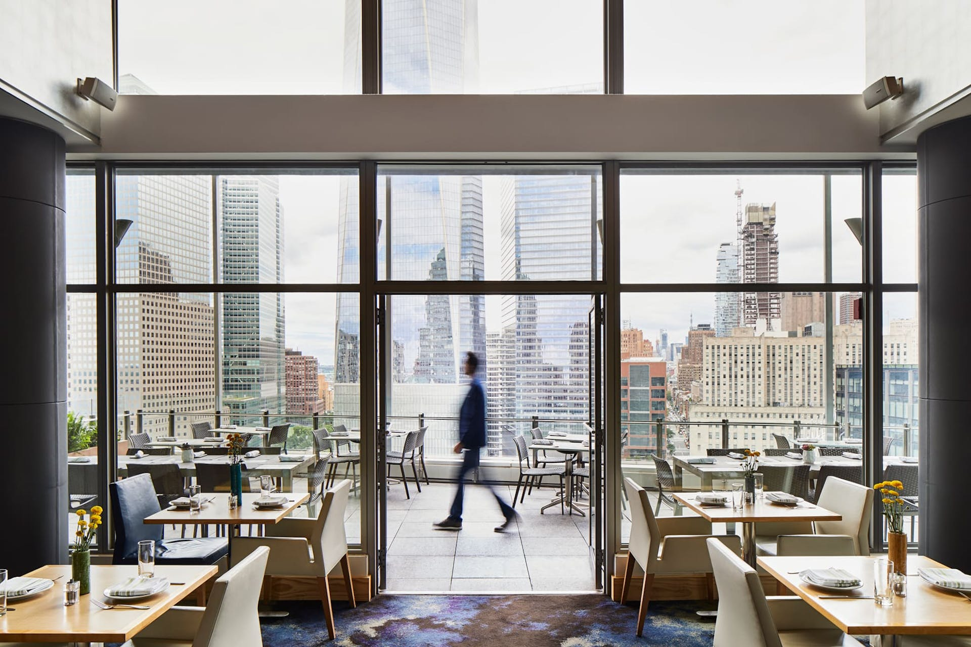 View of WTC from restaurant, NYC