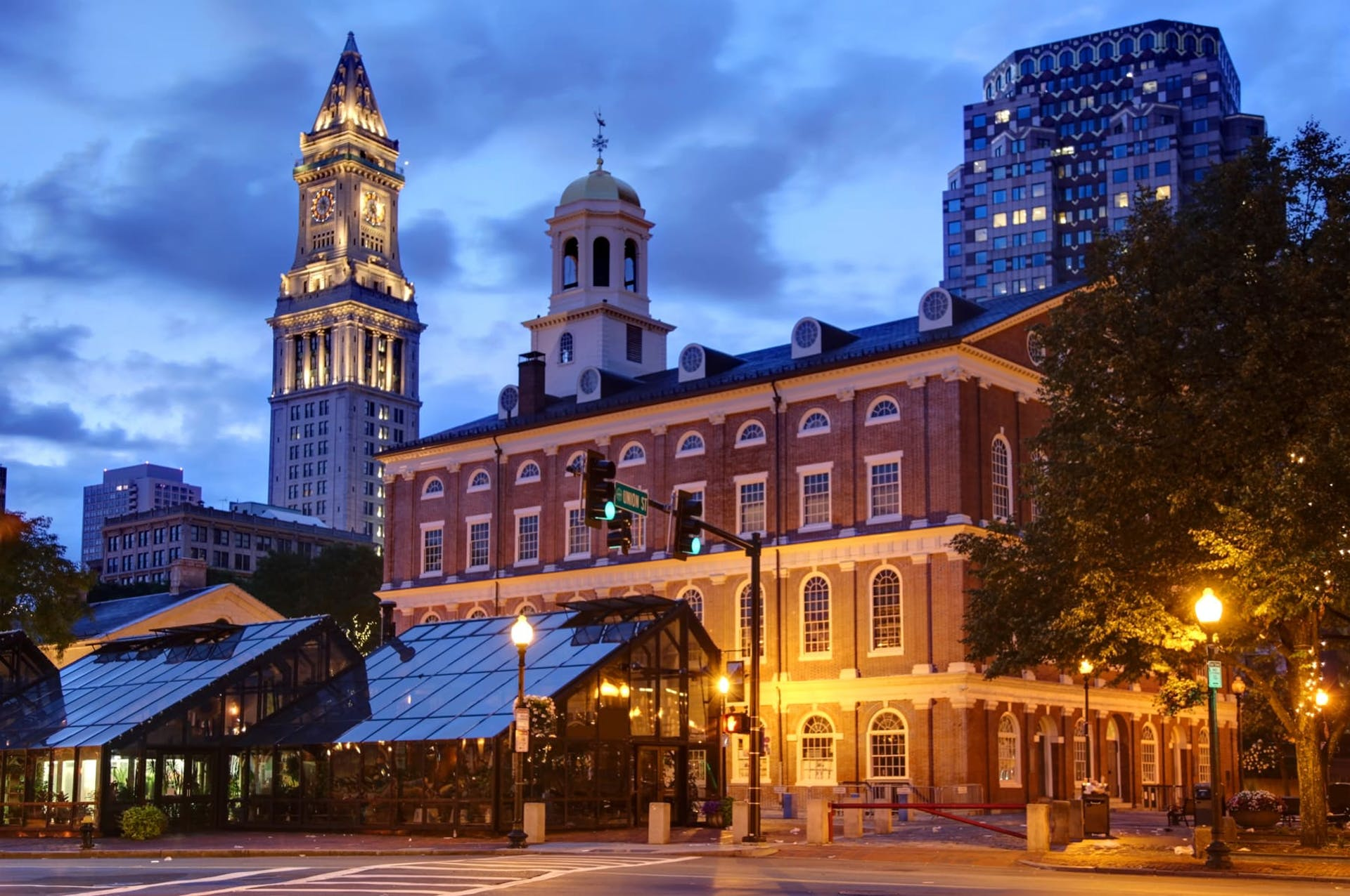 Boston Faneuil Hall exterior at night