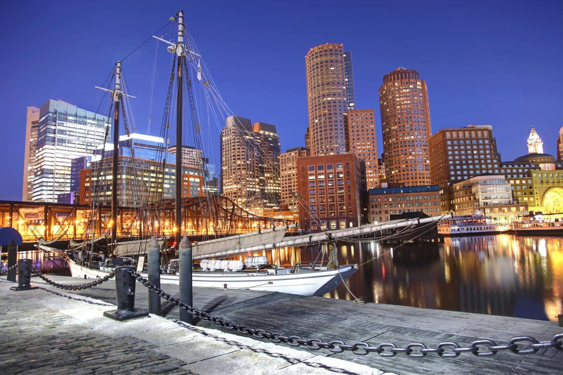 View of Boston Harbor at night