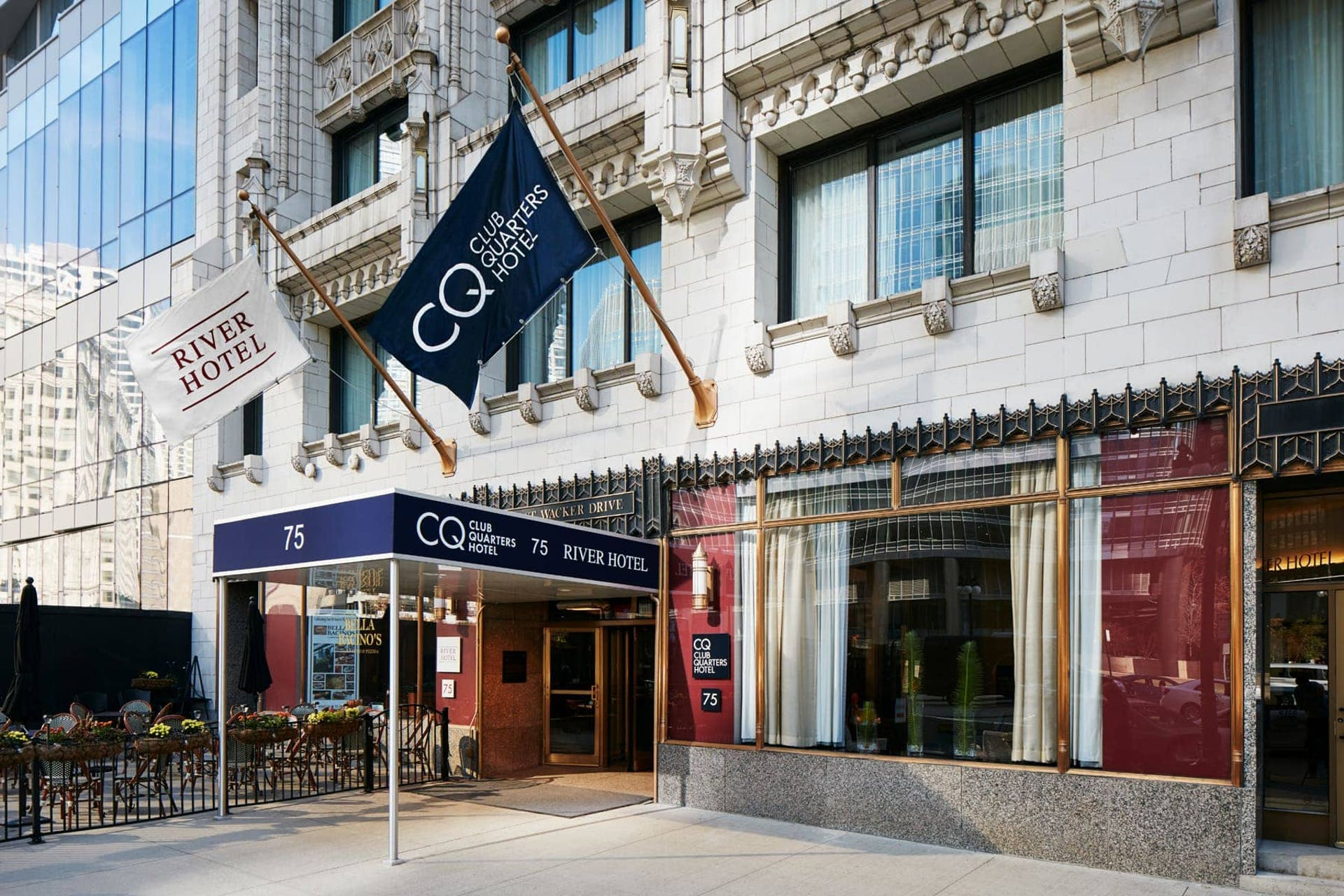 Exterior of CQ Hotel, Wacker at Michigan, Chicago