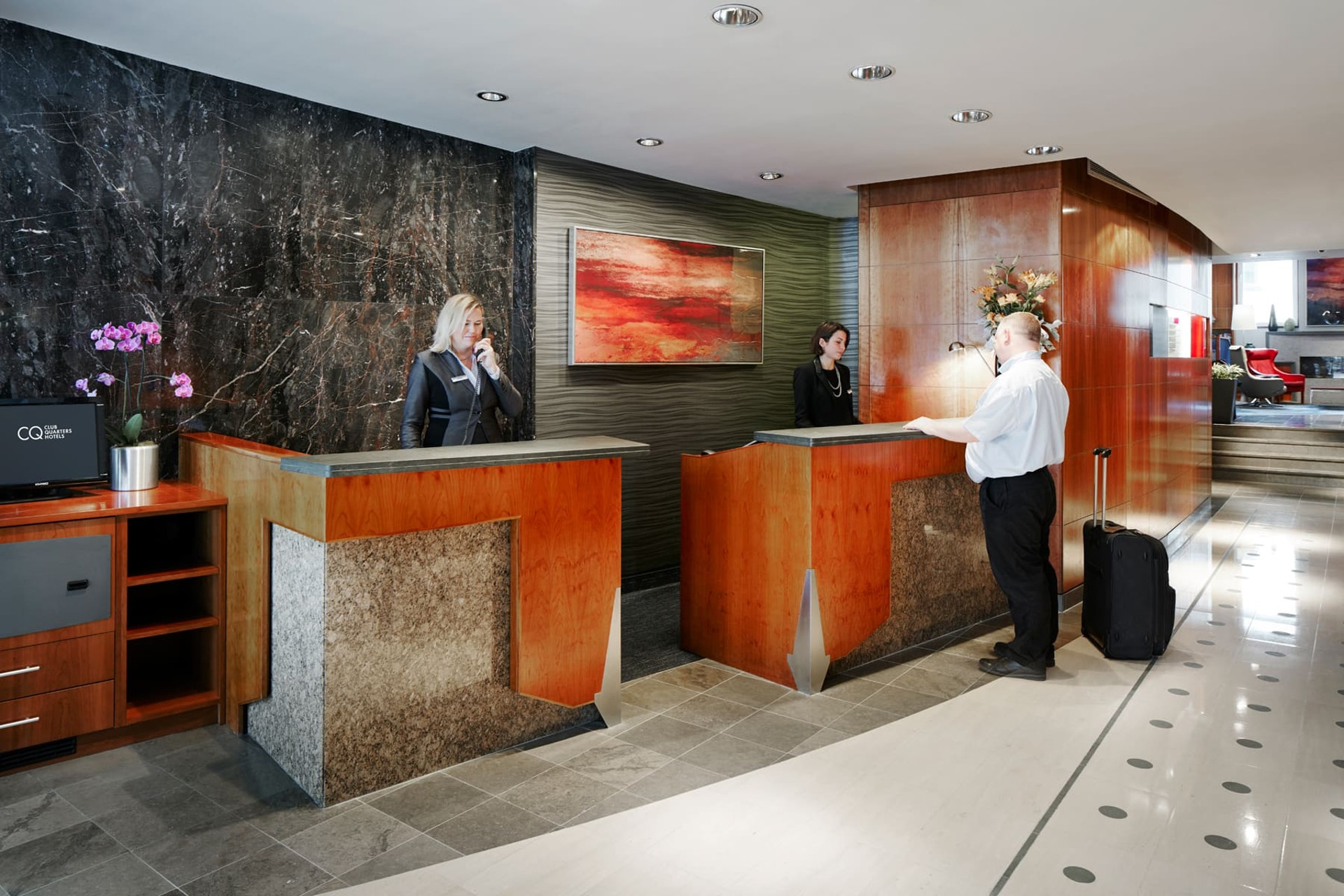 Lobby of CQ Hotel, St Paul's London