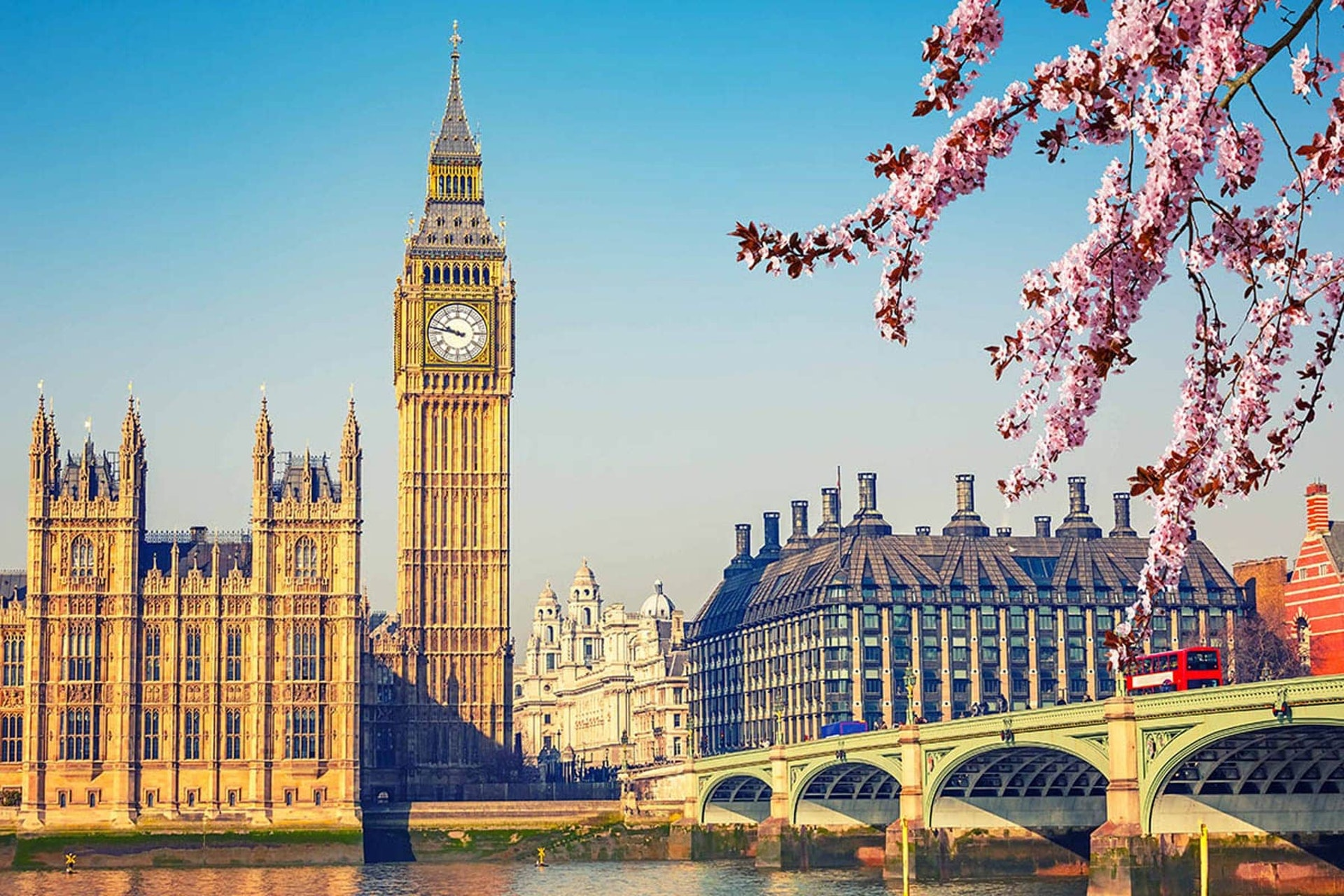 Big Ben, Houses of Parliament in London in spring