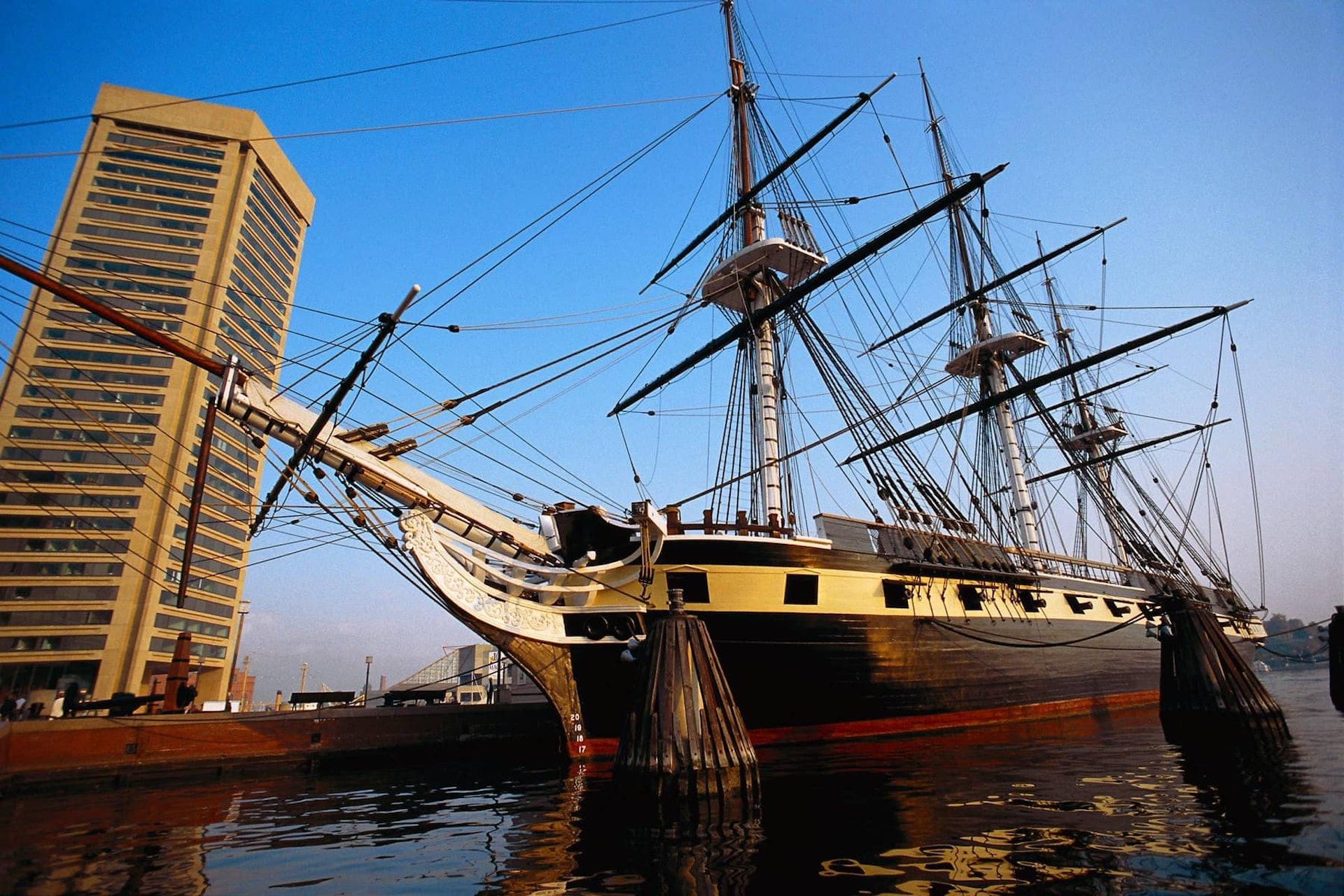 Large ship in Boston Harbor, Boston