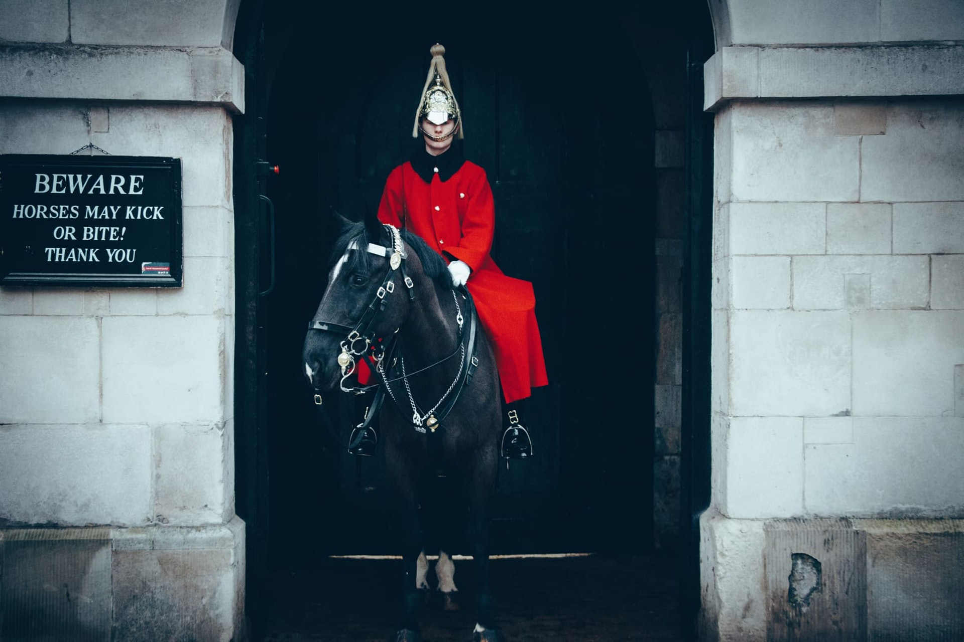 Soldier in red uniform on horse, London