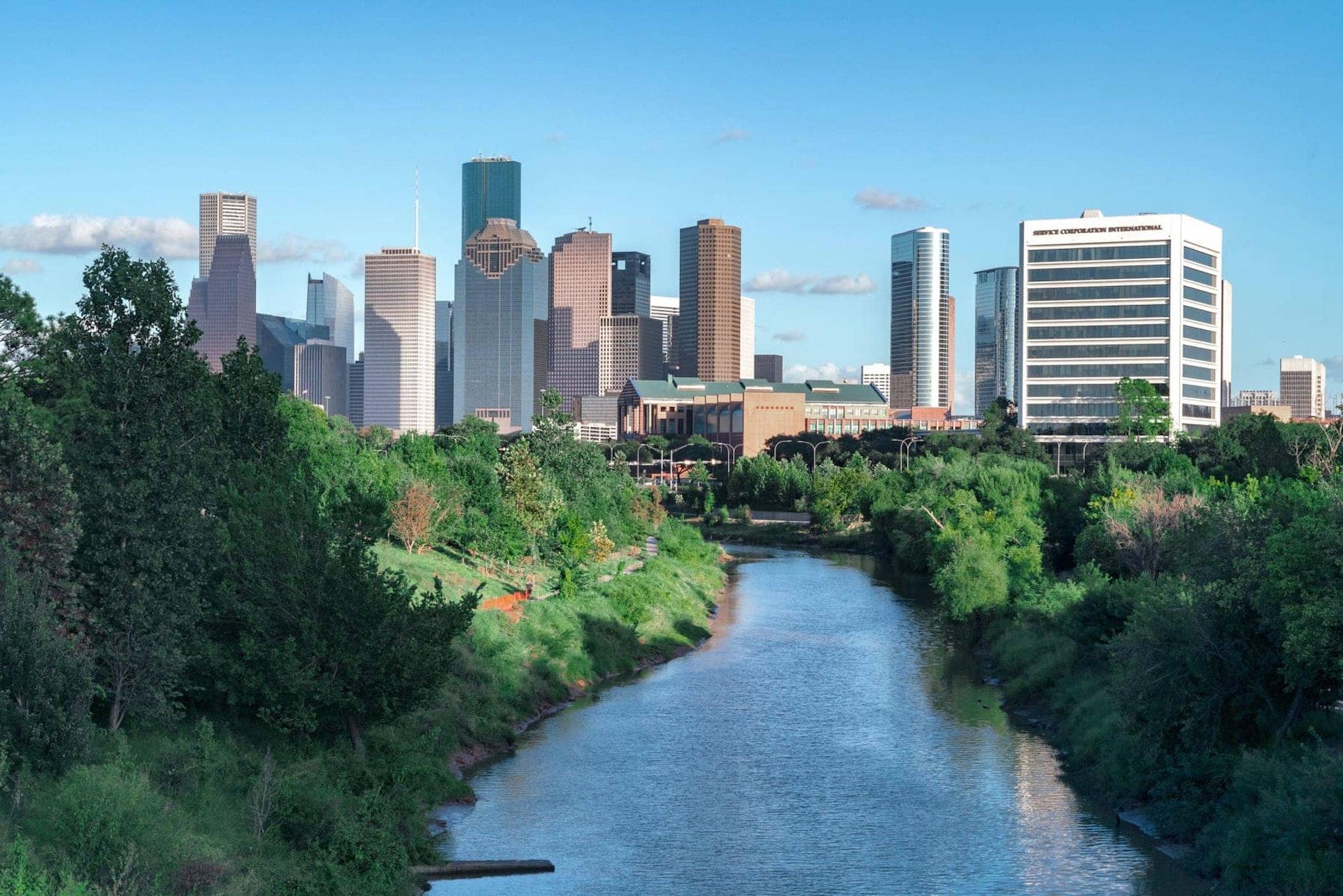 Houston Buffalo Bayou Park City view