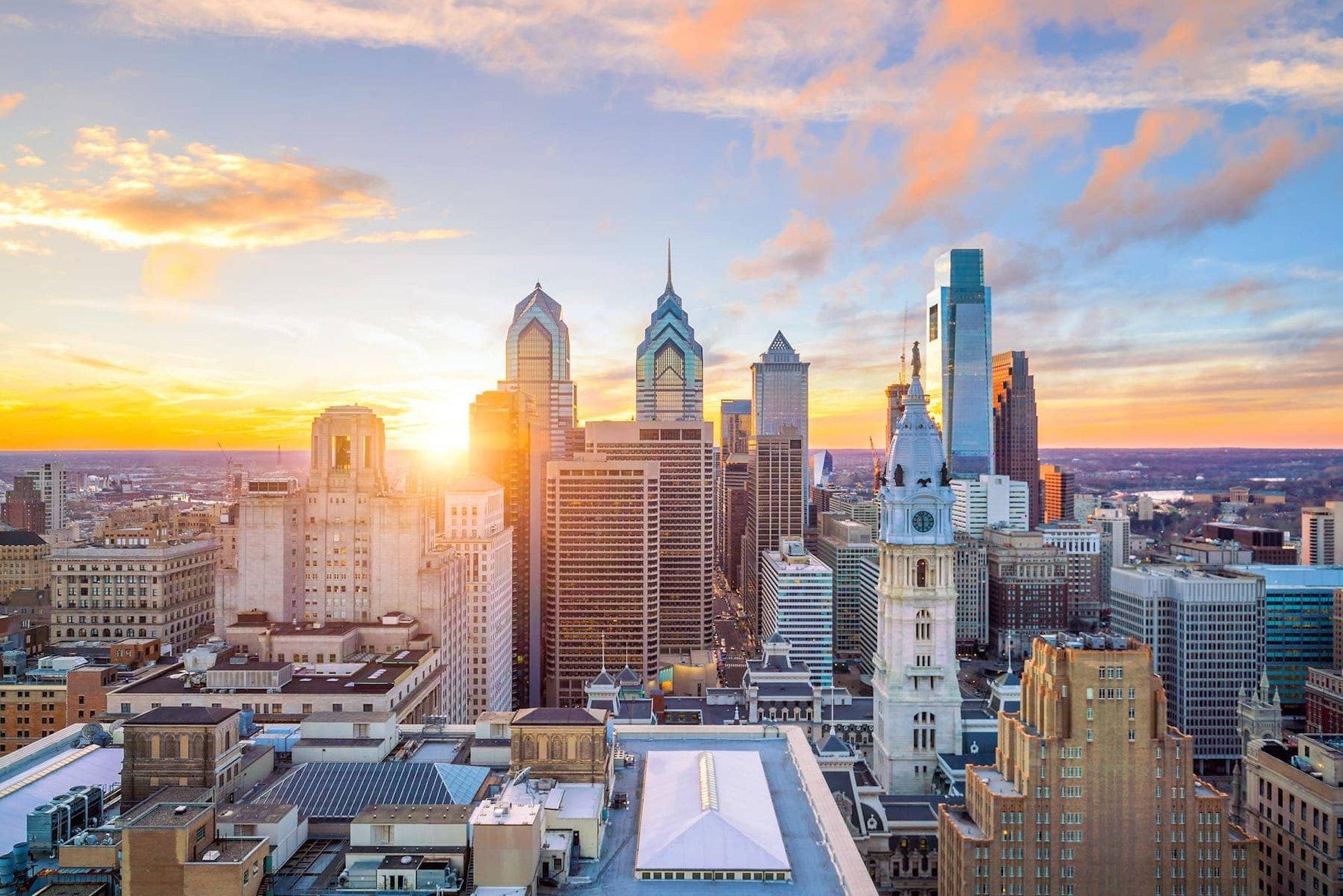 Philadelphia skyline at sunset