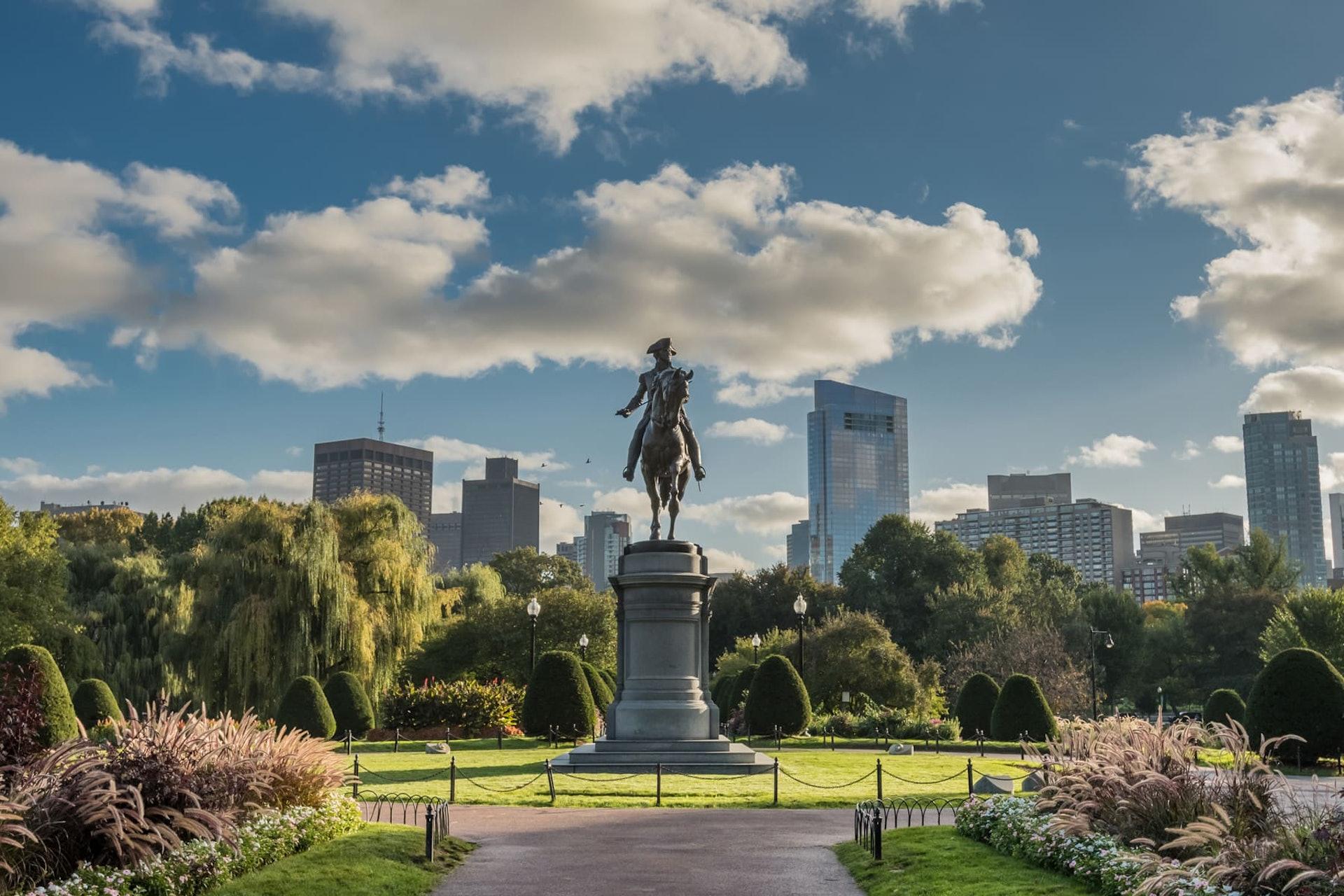 Monument in Boston Public Garden, a city park in Boston, Massachusetts