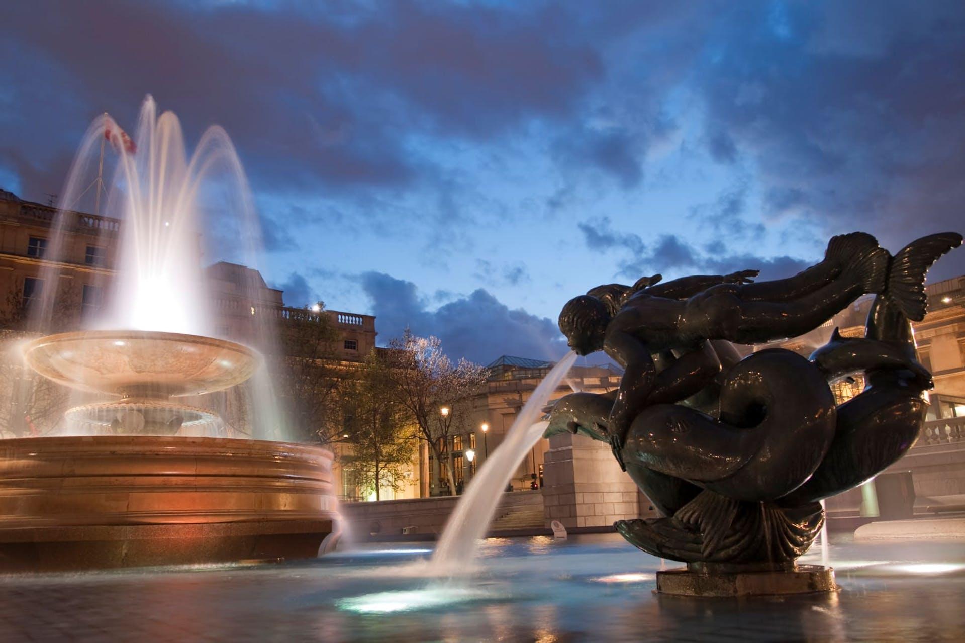 Fountains at Trafalgar Square, London