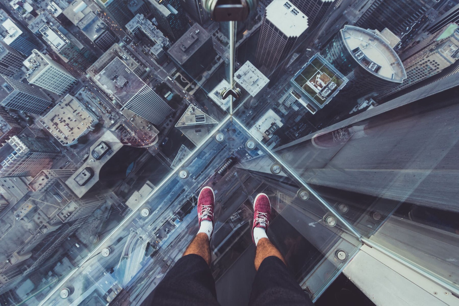 Looking down from SkyDeck of Willis Tower, Chicago