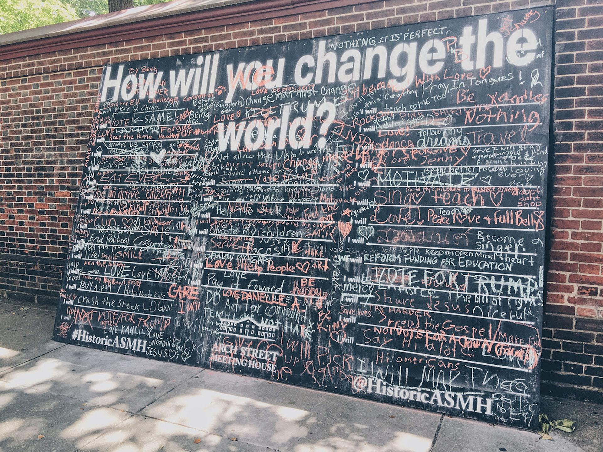 Public chalk display on Arch Street in Philadelphia